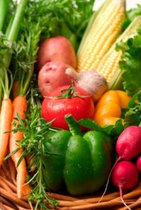 A selection of garden fresh vegetables for a healthly ldiet and lifestyle.