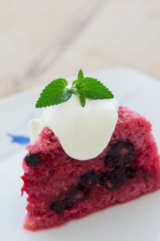 Summer berry pudding with blackberries and raspberries