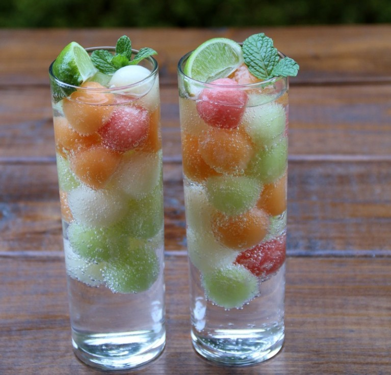 Using-frozen-melon-balls-as-ice-cubes